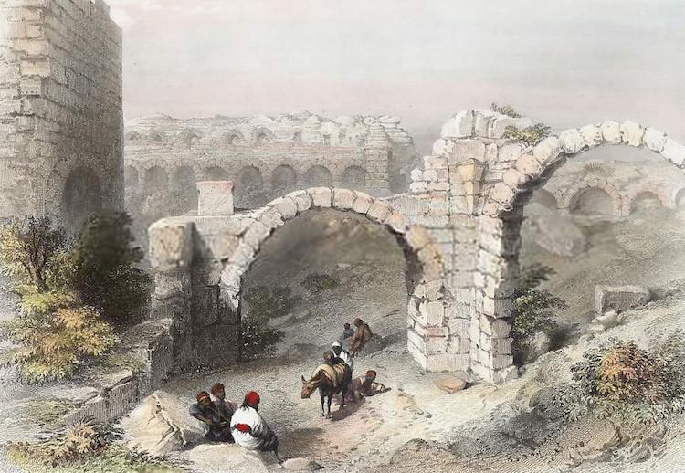 Alexandrea Troas Kemerleri (Gravür: W. H. Bartlett 1855) (Çanakkale)