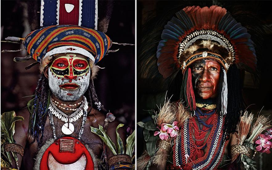 Endonezya ve Papua Yeni Gine'deki Goroka topluluğu üyeleri