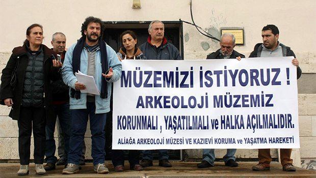 kyme arkeoloji müzesinin yıkım işlemleri protesto ve eylemlerle durduruldu