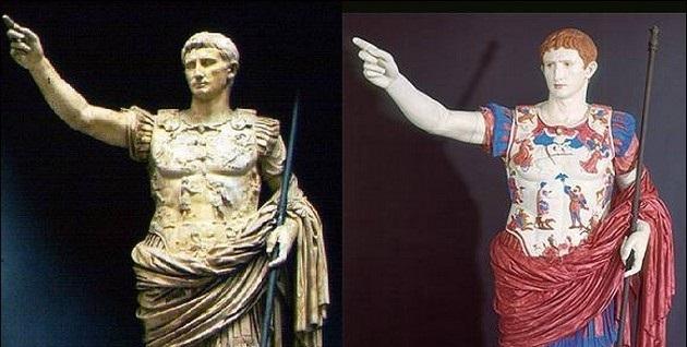 renkli antik yunan roma heykel