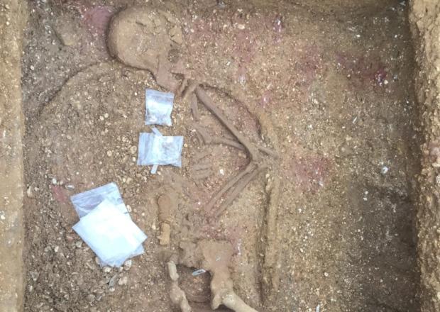 İngiltere'de bir demir çağı mezarındaki iskelet kalkanı ile birlikte gömülmüş.