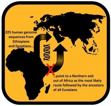 Etiyopya ve Mısır'da yaşayan modern insanların genom analizi, Afrika'dan göçün kuzeyden olduğunu gösteriyor.