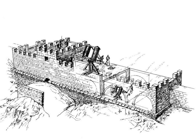 Bastion'un olası bir rekonstrüksiyonu (görsel: D. Porotski, V. Pirsky M. Eisenberg)