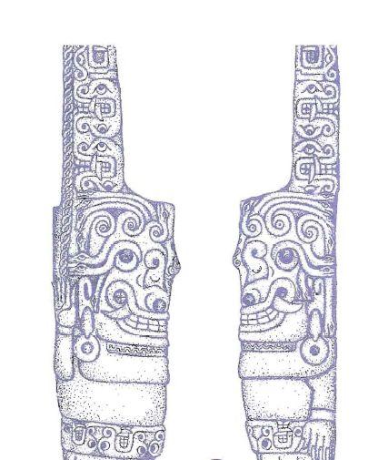 Chavin de Huantar'daki heykeller. Enrico Mattievich'in kitabının 67. sayfasında görüldüğü üzere