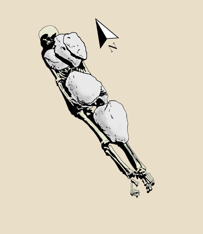 Mezar 693'ün çizimi. Çizim: D. Weiss, G. Di Stefano's kazı günlüklerinden.