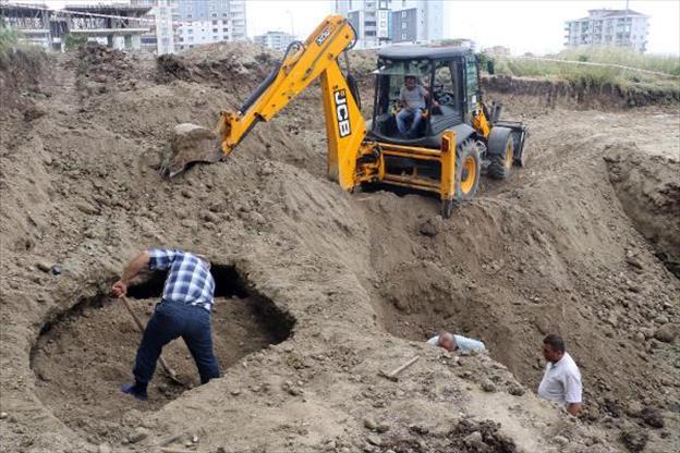 samsun'da inşaatta tarihi mezar
