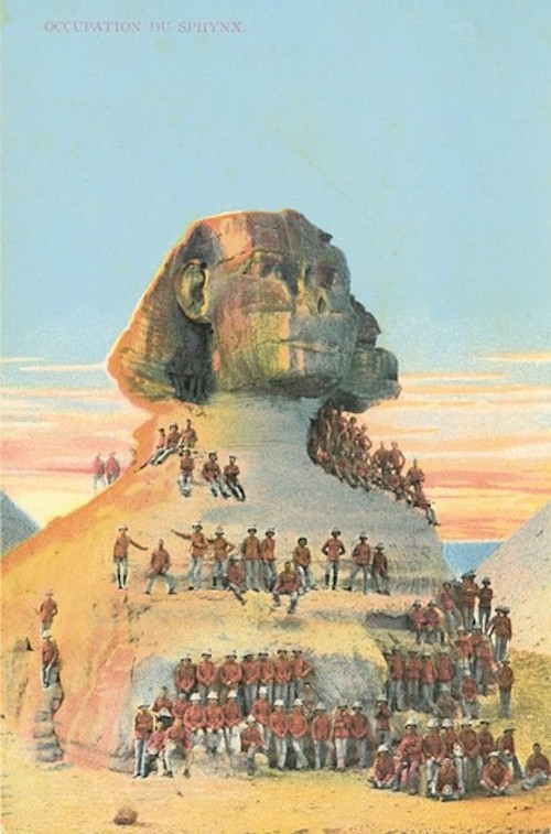 Australian and New Zealand soldiers pose at The Sphinx on this postcard from the 1920s