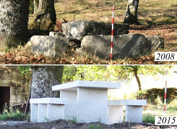 Cristovo de Cea'daki mezarın içine beton döküldü ve üstüne modern bir piknik masası kondu