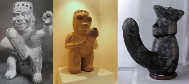 Moche seramiklerinin çoğunda sıvıyı dökmek için, erkek cinsellik organı şeklinde bir ibrik olduğu görülüyor. (public domain)
