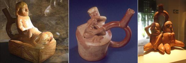 Moche seramiklerinde tasvir edilen çeşitli cinsel aktiviteler.