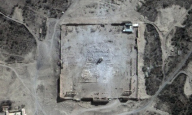 Uydu görüntüleri Satellite images show that only rubble remains at the site of the Temple of Bel in Syria's ancient city of Palmyra. Photograph: Unitar/AFP/Getty Images