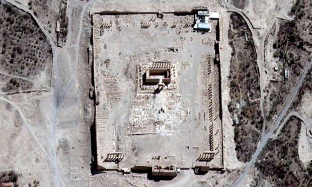The Temple of Bel's rectangular structure surrounded by columns, as shown before it was destroyed by an explosion. Photograph: Unitar/AFP/Getty Images