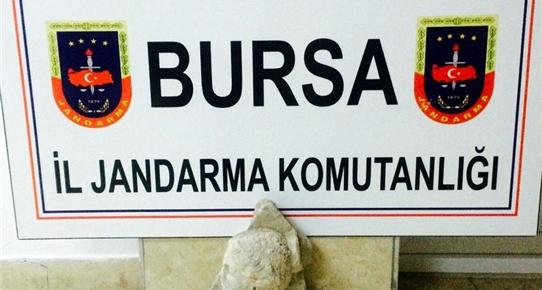 Bursa'da Bir Arabada Antik Heykel Başı Yakalandı
