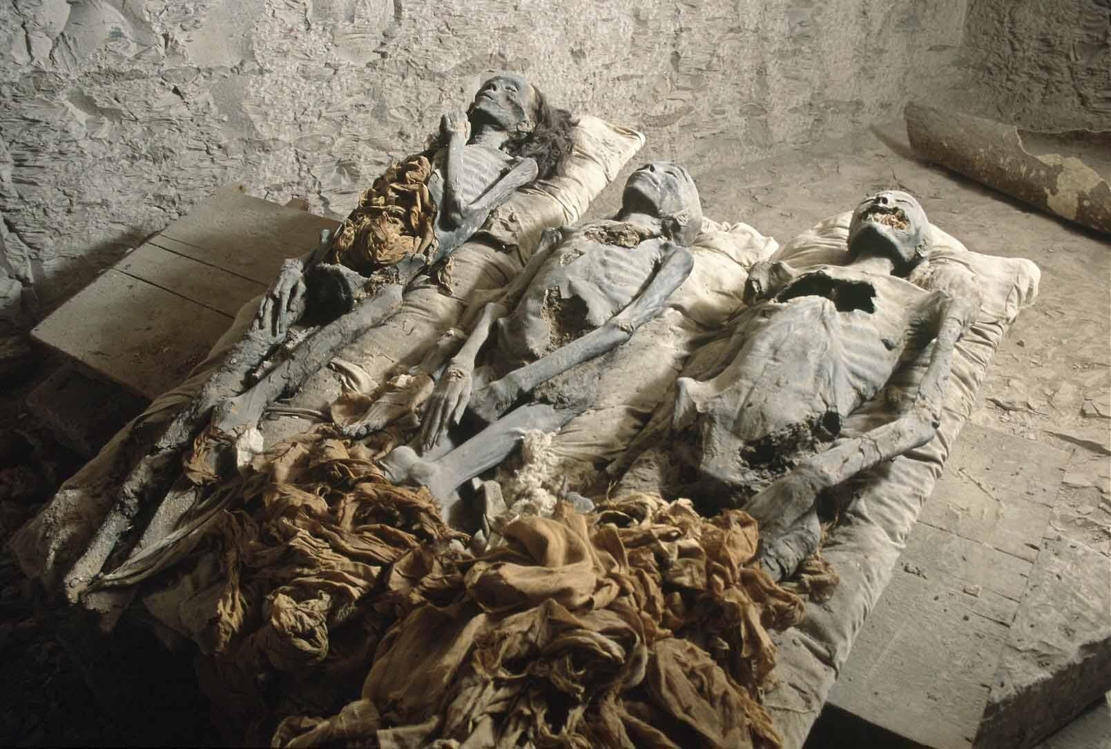 """KV35 mezarında keşfedilen 3 mumya. Sırasıyla, en solda Kraliçe Tiye'te ait """"Yaşlı Kadın"""" mumyası, ortada Webensenu ya da Prens Thutmose olduğu düşünülen genç çocuk mumyası ve en sağda Nefertiti olduğu düşünülen """"Genç Kadın"""" mumyası. Fotoğraf: Discovery Channel Arşivi"""
