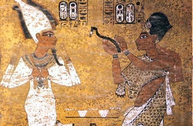 """""""Ağız Açma Ayini"""" olarak adlandırılan ritüelin yer aldığı tartışmalı duvar resmi."""
