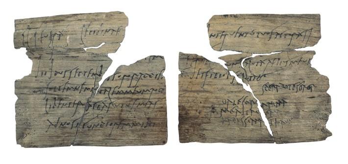 MS. 100 yılına tarihlendirilen, kartpostal büyüklüğündeki bu tablet yerel bir odun kaynağından yapılmış ve yazı, karbon mürekkep ile yazılmış. Fotoğraf: © The Trustees of the British Museum/Art Resource, NY
