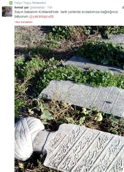 Twitter'da Bakana Atılan Osmanlı Mezartaşı Fotoğrafı Sonrası Anında Müdahale