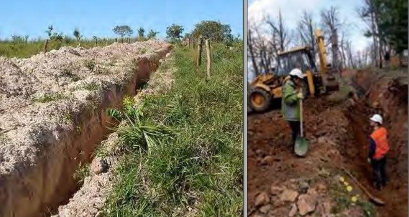 Arkeolojik kalıntıların olduğu bölgede maden şirketinin açtığı derin yarıklar.