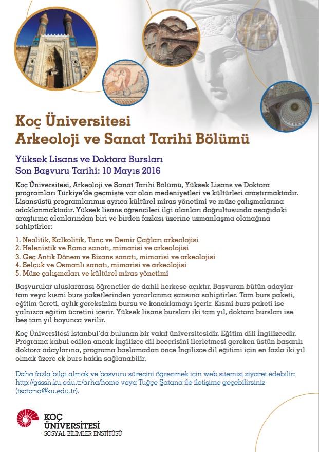 Koç Üniversitesi Arkeoloji ve Sanat Tarihi Lisansüstü Program Başvuruları
