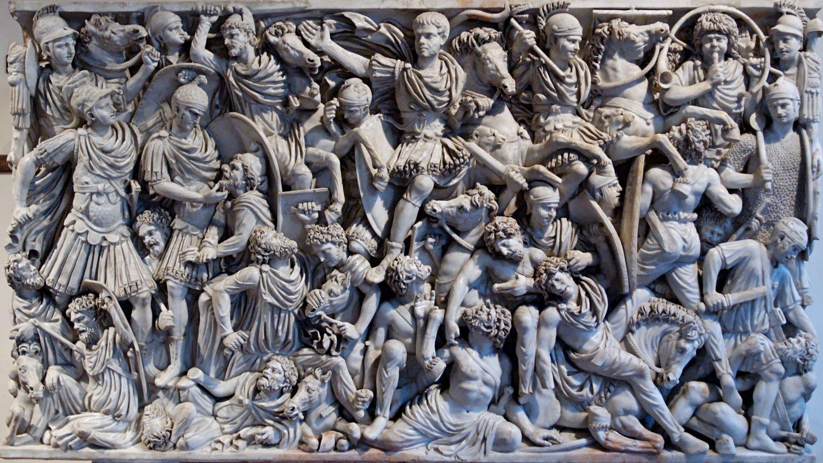 Gotlar ve Romalılar arasındaki bir savaşın betimlendiği lahit