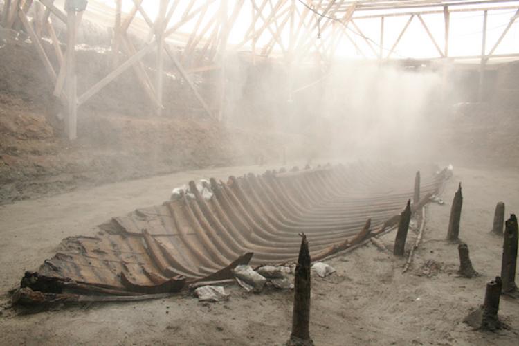 Marmaray'da bulunmuş bir Bizans gemi batığı.
