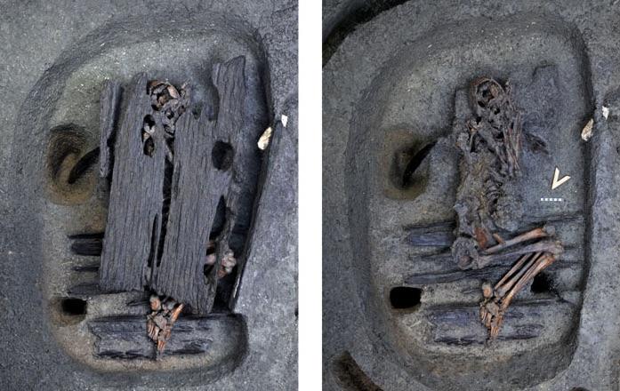 Marmaray kazılarında bulunmuş bir mezar.