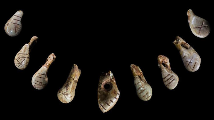 Once strung on a necklace, these deer teeth were discovered in the grave of an Ice Age woman who lived nearly 16,000 years ago. The markings on the teeth may have been memory aids to help the owner recite an important tribal story.