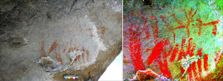 Abri Faravel'deki resimler. Yaklaşık olarak paralel olan iki çizgi grubu, ve yüzleri birbirine dönük iki hayvan. (a) Normal ışıkla çekilmiş (b) Resimlerin yakınlaştırılmış ve renkleri YBR matriksinde DStretch ile geliştirilmiş hali. (Foto ve değişiklikler: C. Defrasne)