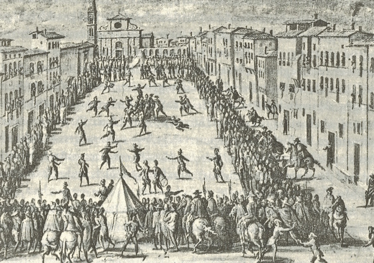 EPRODUCED FROM: 'KULTURGESCHICHTE DES SPORTS', C.H.BECK, P.181: FRESCO BY JAN VAN DER STRAET: CALCIO BEING PLAYED IN FRONT OF SANTA MARIA NOVELLA, 1558 (PALAZZO VECCHIO, FLORENCE)