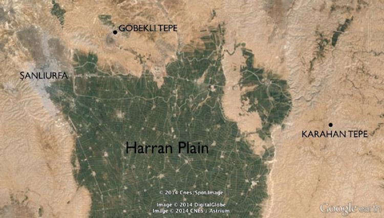 Karahan Tepe ve Göbeklitepe'nin Harran Ovasına göre yeri.