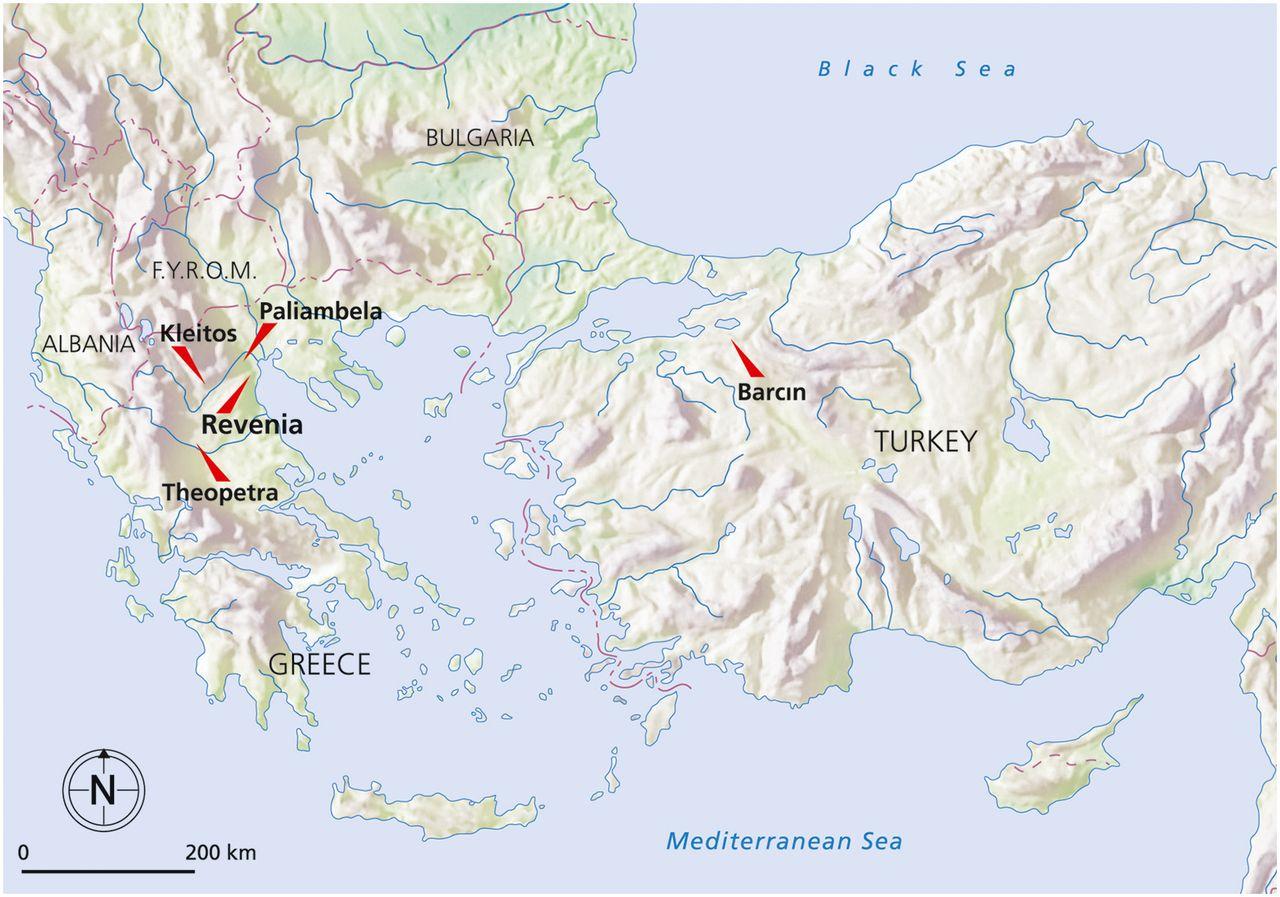 Yunanistan ve Türkiye'de araştırılan arkeolojik yerler.