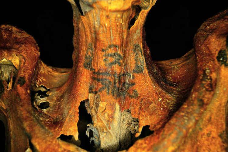 3000 yıllık kadın mumyasının boynunda bulunan dövmeler. F: Ann Austin
