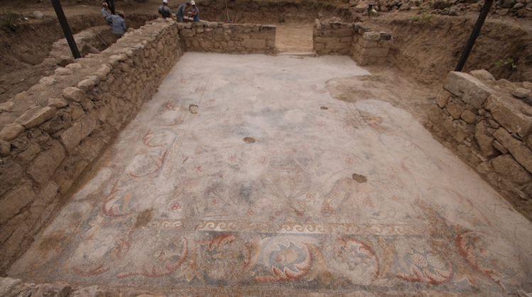 Konya'da 1400 Yıllık Aslan ve Savaşçı Mozaiği Bulundu