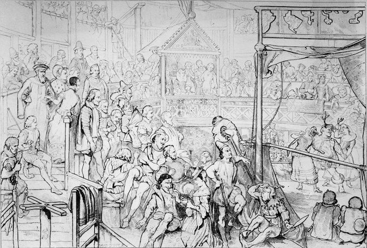 """Elizabeth I'in The Globe Tiyatrosu'nda Shakespeare'in """"Windsor'ın Şen Kadınları"""" oyununu izlerken bir tasviri. Kraliçe özel bir locada otururken, izleyicilerin geri kalanı oyunun tadını galerilerde istiridye ve kabuklu yemiş tüketerek çıkarıyorlardı. Hulton Archive/Getty Images"""
