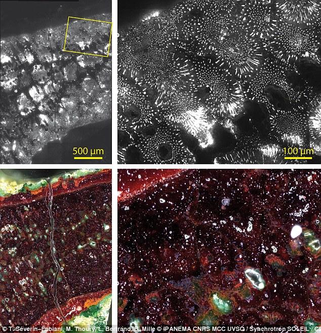 Fotolüminesans (üstte) ve optik mikroskopi (altta) teknikleri kullanılarak elde edilen görüntüler, eserin nasıl yapıldığına dair ipucu veren bakır oksidasyonuna ait izleri ortaya koyuyor.