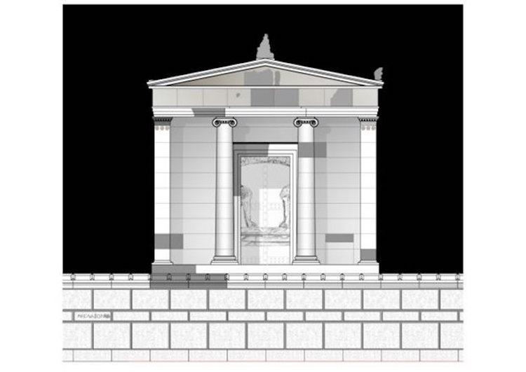 Amphipolis mezarının dışardan görünümü.