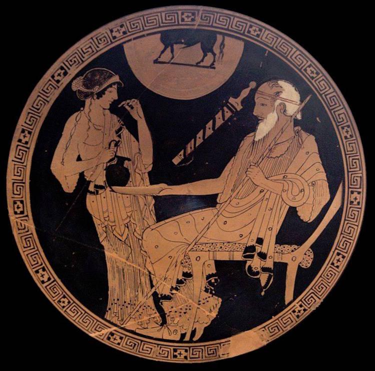 MÖ 490 yılına tarihlenen Briseis ve Phoiniks'in betimlendiği kylix/şarap içme kabı.