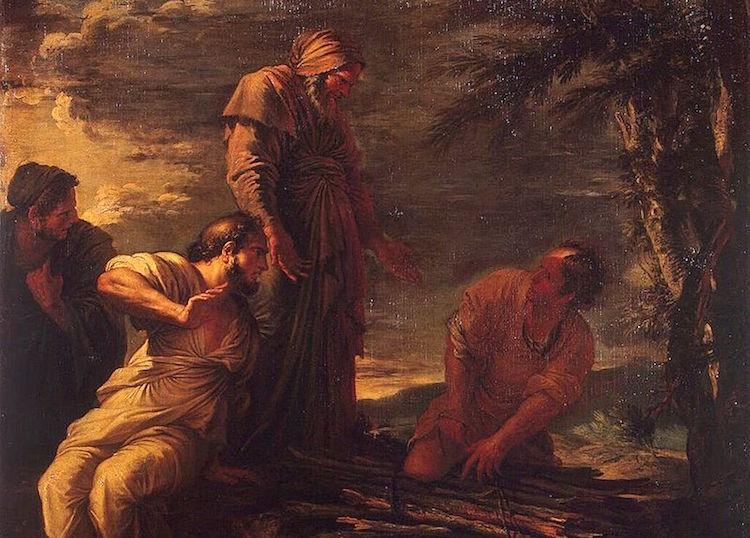 Salvator Rosa'nın 17. yüzyılda yaptığı tablo. Demokritos ortada ve Protagoras sağda.