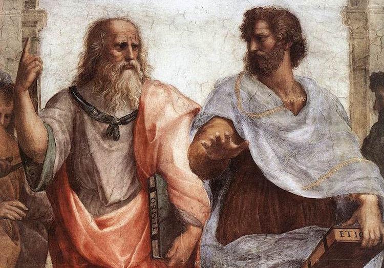 Raphael'in 1510 yılında yaptığı Atina Okulu adlı tablosunda Platon solda ve Aristotales sağda.