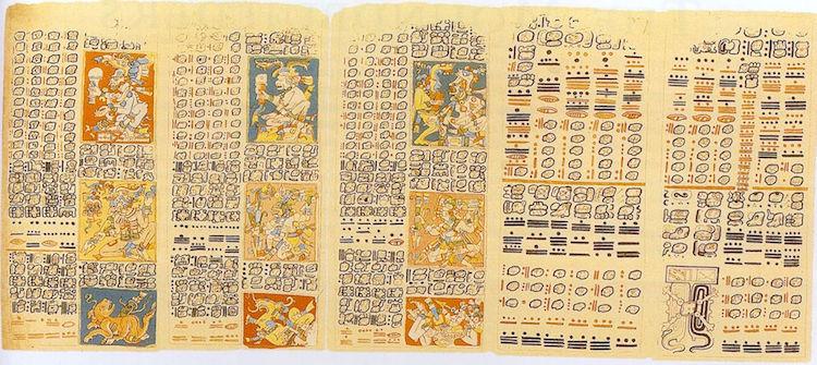 Dresden Kodeksi olarak adlandırılan Maya yazıtında yer alan Venüs'ün evrelerinin detaylı kayıtları. Kayıtlar 46-50.sayfalarda yer alıyor. Venüs Tablosu olarak bilinen tabloda yer alan kayıtların dini ritüellerin gezegenin döngüsüne göre ayarlanması için tutulduğu tahmin ediliyor. F: Alexander von Humboldt/Wikimedia Commons