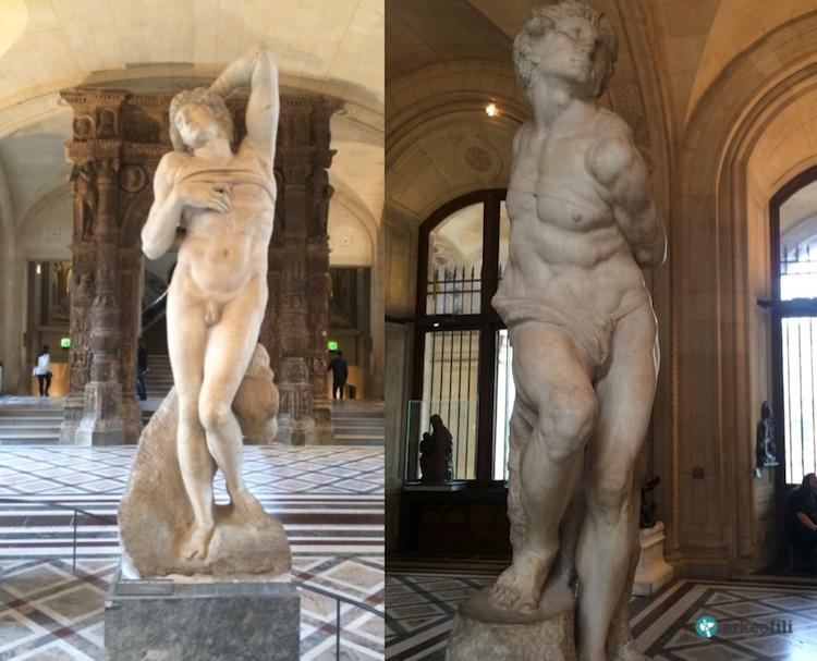 Ölmekte Olan Köle ve İsyancı Köle, Michelangelo. Louvre Müzesi